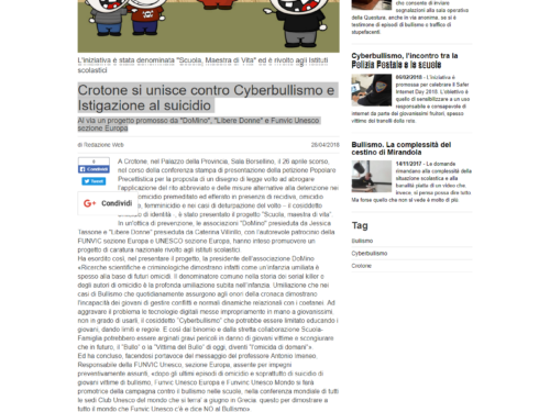 Crotone joins against Cyberbullying and Instigation to suicide