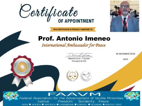 International Ambassador for Peace FAAVM