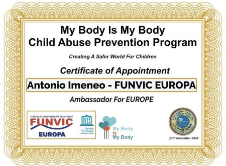 Antonio Imeneo and FUNVIC Europa Ambassadors for Europe  My Body is My Body
